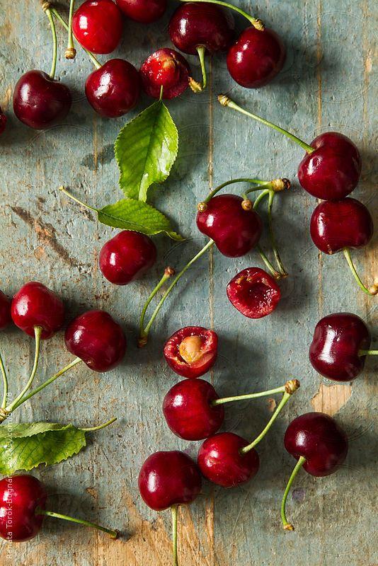 Cherries by Renáta Török-Bognár. Sweet dark cherries are full of cell-regenerating quercetin, sun-protective ellagic acid and phyto-melatonin which is converted into our own sleep hormone melatonin, so pop cherries instead of pills for the ultimate beauty sleep!