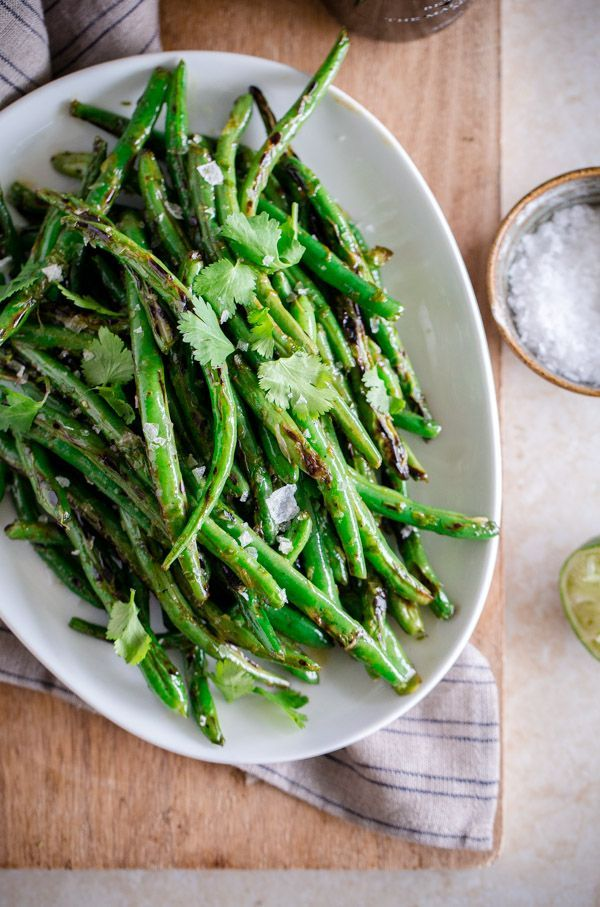 Charred Green Beans with Cilantro-Lime Vinaigrette   Blogging Over Thyme