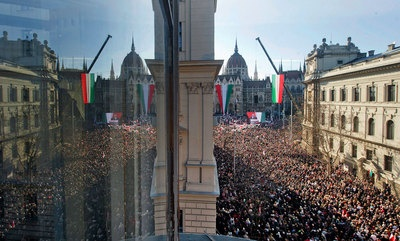 "Speaking to a large crowd of supporters celebrating the anniversary of a 19th-century Hungarian revolt against Austrian rule, Prime Minister Viktor Orban said: ""Hungarians will not live as foreigners dictate."" 15th March 2012"