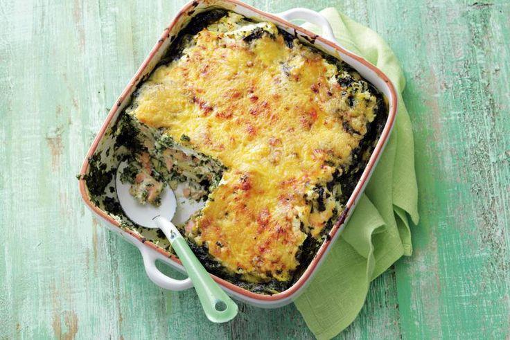 Makkelijke lasagne met spinazie en zalm: 20 minuten koken, 35 minuten in de oven - Recept - Allerhande