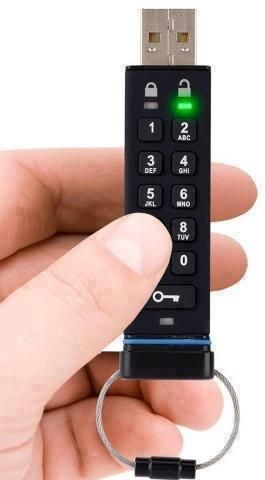 A thumb drive with built-in pin-pad security. You can find it here!- http://amzn.to/1nOkmcC