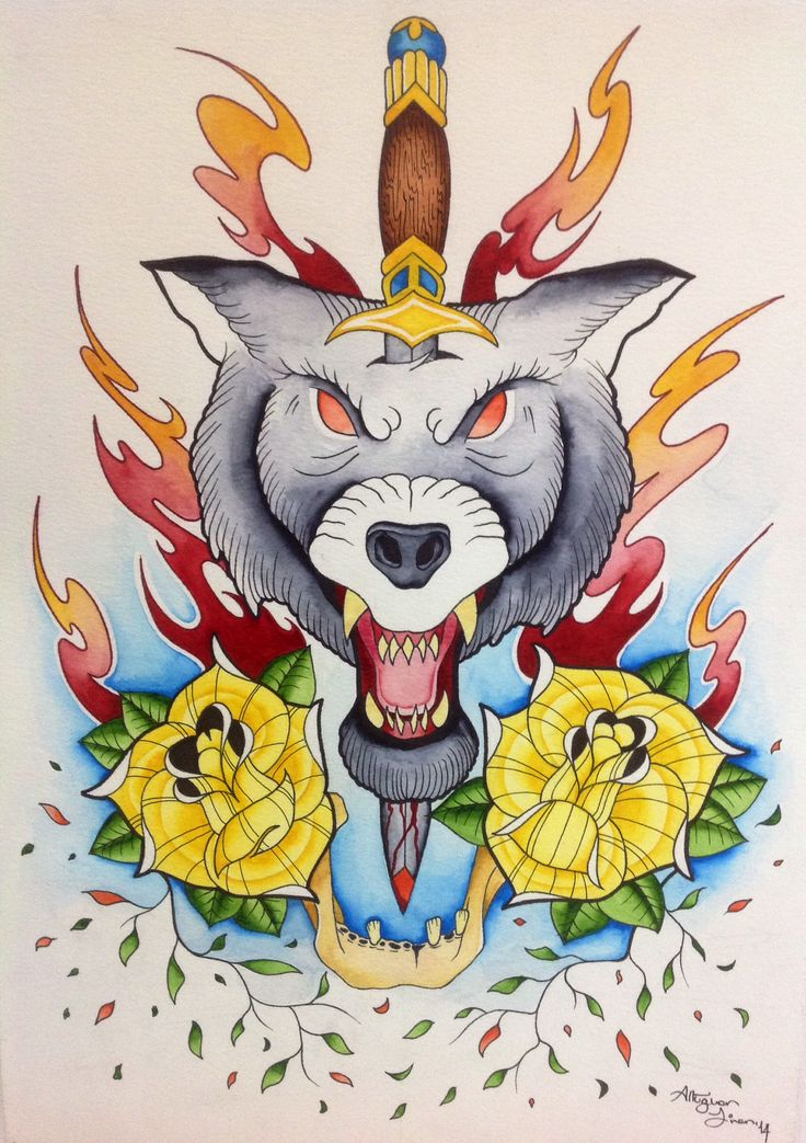 Neotraditional wolf, watercolor