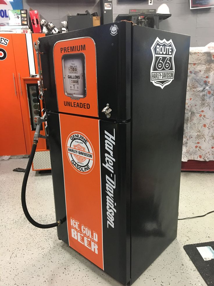 Harley Davidson gas pump beer fridge.