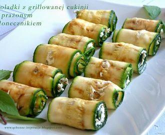 Fit przekąska - roladki z grillowanej cukinii z prażonym słonecznikiem
