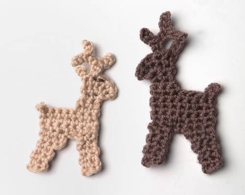 Crochet Reindeer - Tutorial...add to cards..for a removable brooch or Xmas decoration...or as an applique or a fridge magnet....add some embellishments and hang....