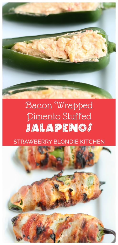 Bacon Wrapped Pimento Stuffed Jalapenos are a kicked up version of your standard jalapeno popper. These are stuffed with delicious pimento cheese, wrapped in bacon and then grilled until nicely charred. Our jalapenos will having you kick your deep-fried ones to the curb | Strawberry Blondie Kitchen