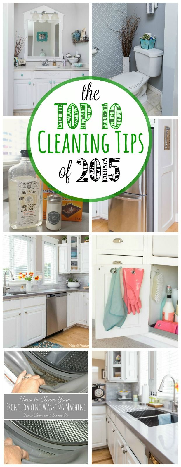 The best cleaning tips from 2015 - tons of great green cleaning ideas and tricks to get your home cleaned from top to bottom. A must pin!