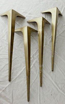 Mid century table legs stiletto brass vtg industrial salvage furniture steampunk