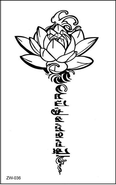 Loto de buda diseños de tatuaje temporal letras sánscrito tibetano de word tatuajes volver henna cintura de la pierna del brazo hombro a prueba de agua ZW036