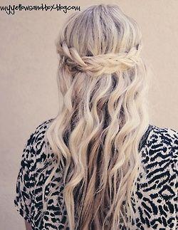 half up- half down wavy and braided