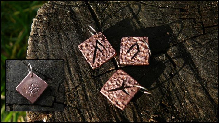 Some tiny (1x1cm) copper runes.