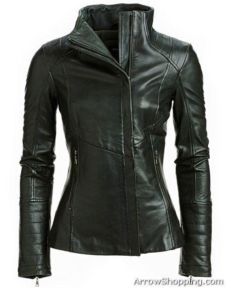 Arrow Womens Black biker Style Leather jacket – yuti567511