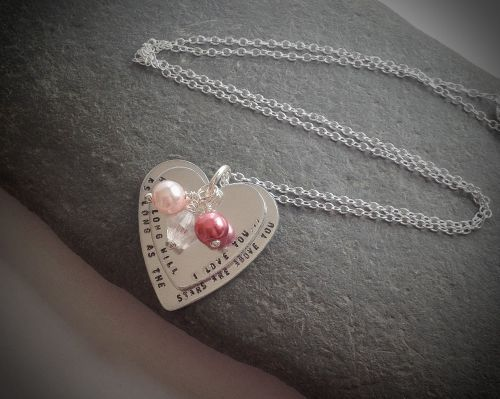 Stacked Heart Necklace, a range of choice on text and colours. Would be a lovely present.