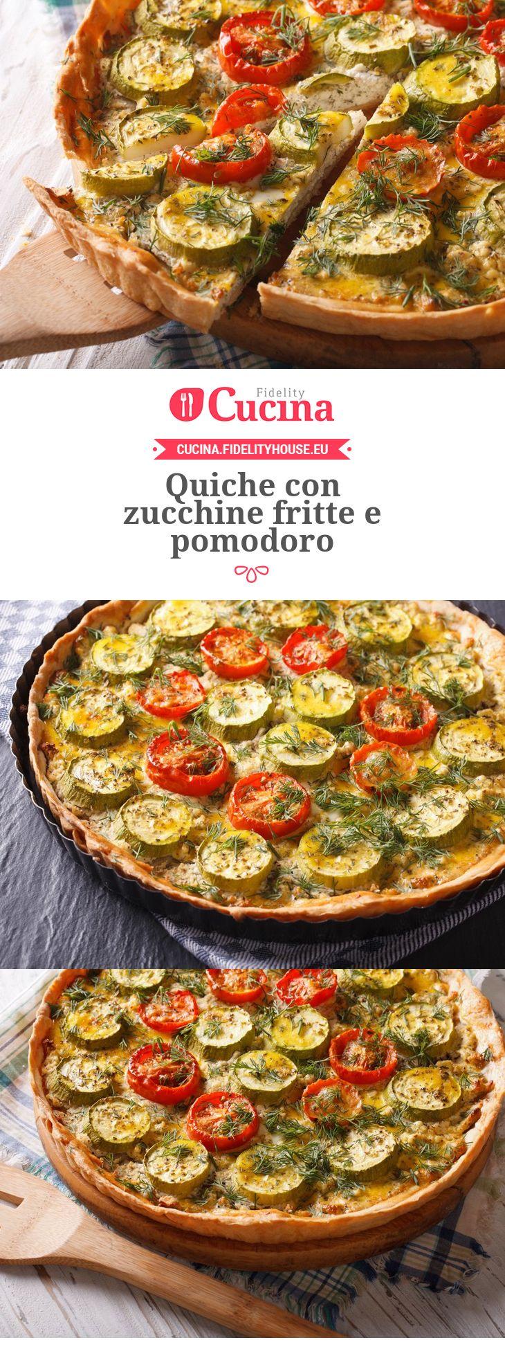 Quiche con zucchine fritte e pomodoro