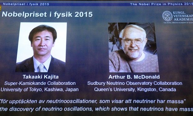 "This year's Nobel Prize in Physics was awarded jointly to Japanese Takaaki Kajita and Canadian Arthur B. McDonald ""for the discovery of"