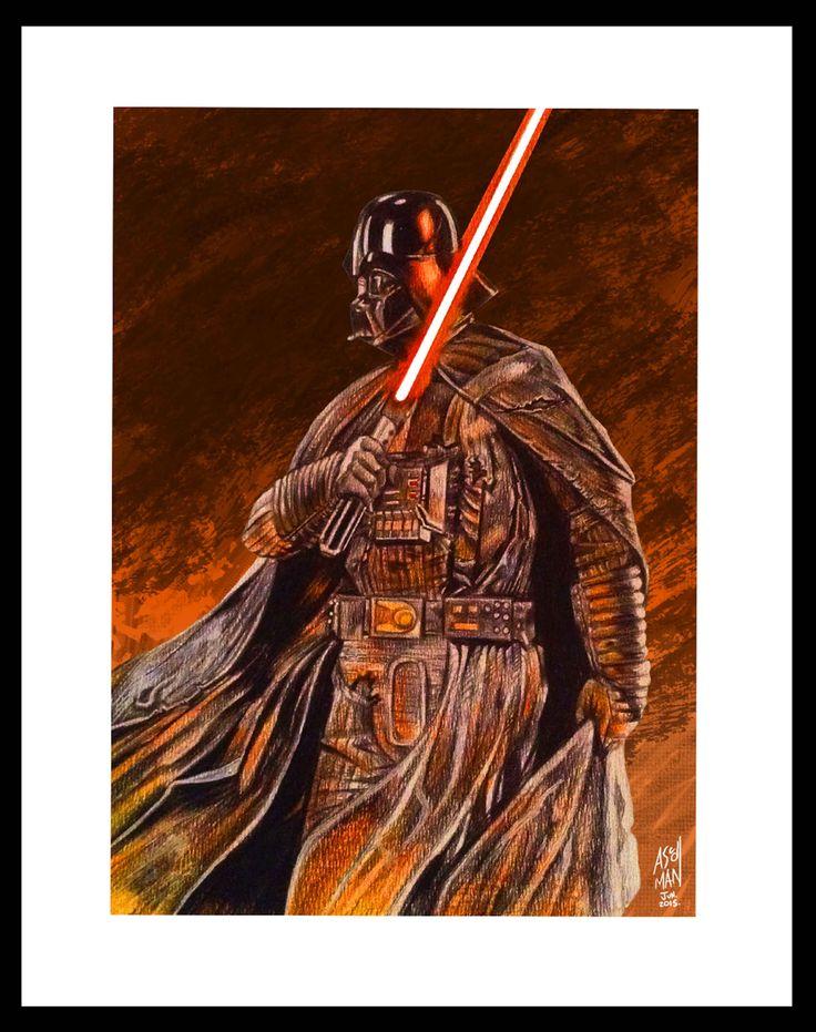 """""""Anakin's death"""" by ascdman.......realizado con policromos y editado digitalmente"""