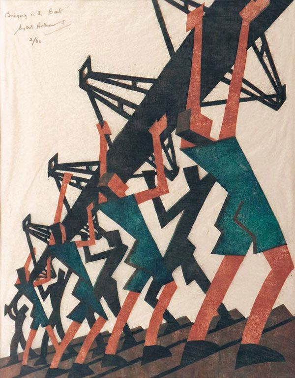 British Printmaking in the Early 20th Century as Influenced by Futurism. Cyril E. Power (English, 1872–1951), The Tube Train, about 1934, Color linocut, The Metropolitan Museum of Art, Partial and Promised Gift of Johanna and Leslie Garfield, Courtesy EB Power & Osborne Samuel Ltd, London, Photograph © Museum of Fine Arts, Boston.