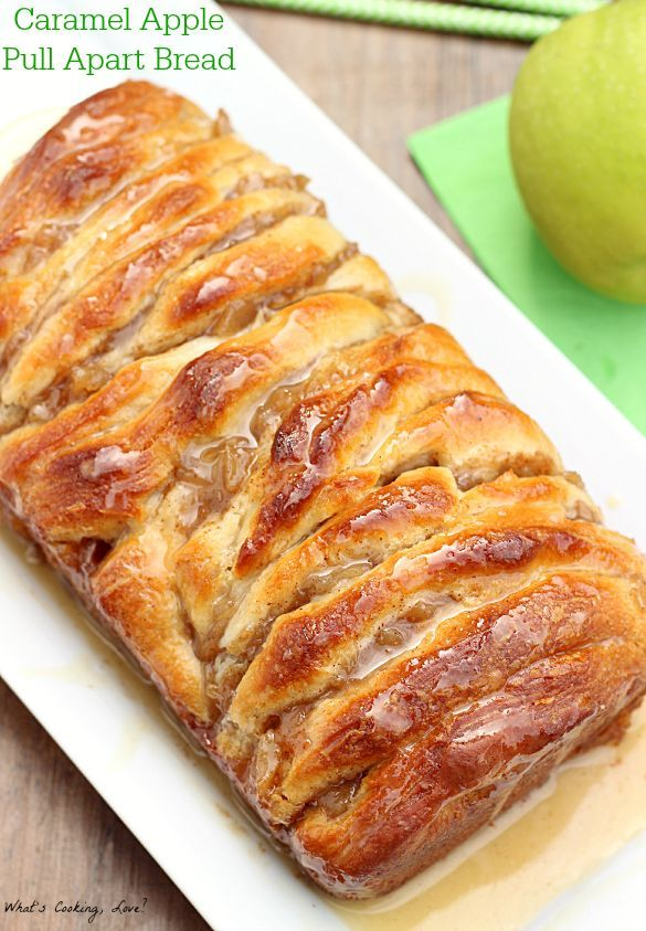 Caramel Apple Pull Apart Bread.  An easy pull apart bread stuffed with apples and caramel and topped with an apple cider glaze.