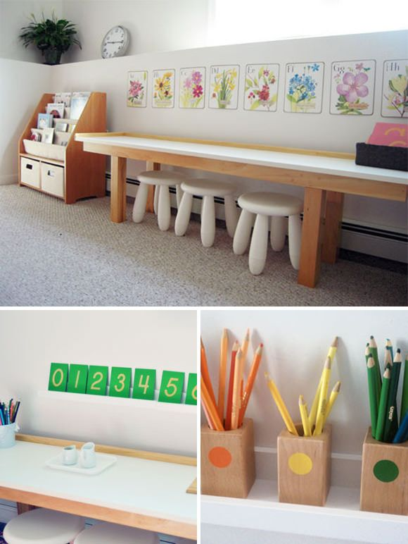 Montessori Playroom. I like the way she organized the coloring utensils into color catagories so children can learn how different shades are still in the same color group. :)