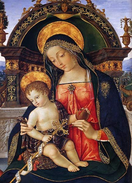 Part of Pinturicchio's Santa Maria dei Fossi Altarpiece (1496-98), now in the Galleria Nazionale dell'Umbria in Perugia.  It's an oil painting rather than fresco, but it gives some idea of what decent lapis could look like, and how adept Pinturicchio was at painting Madonnas