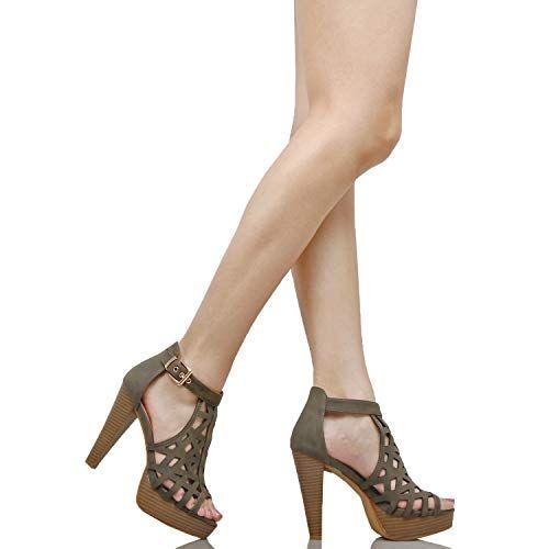 3b16b3ea479 #Clothing,ShoesandJewelry #HeeledSandals #Sandals #Shoes #Women Guilty Shoes  Womens Cutout Gladiator Ankle Strap Platform Block Heel Stiletto Sandals