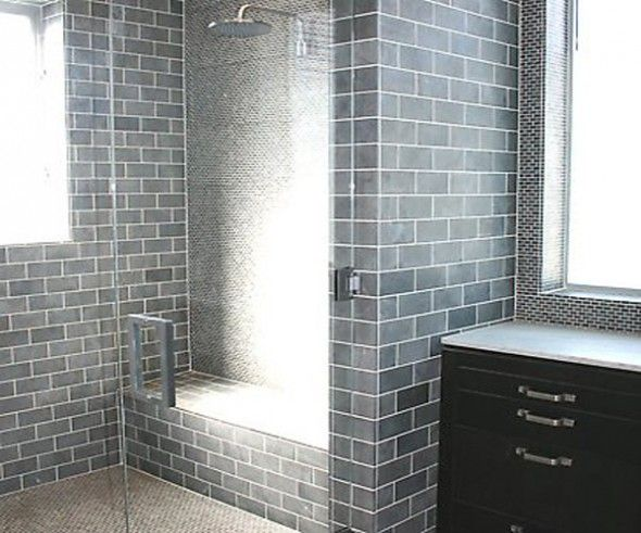 Gray subway matte tile bathroom subway tiles for for Bathroom grey tiles ideas