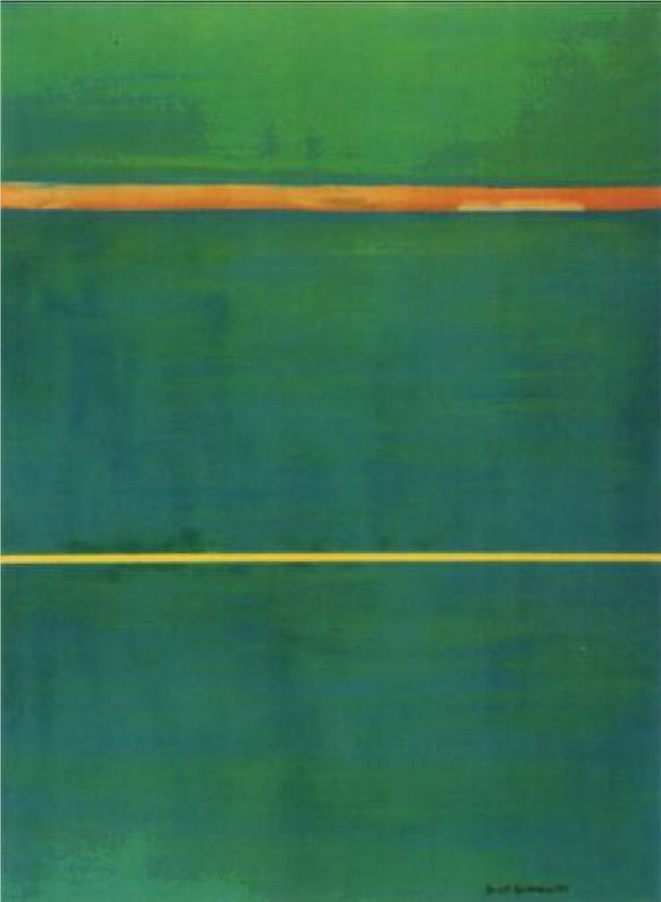 "ABSTRACT EXPRESSIONISM/ COLOR FIELD-  Barnett Newman ~ Dionysius, 1949 (oil) BN once said he wanted viewers to experience ""awareness of being alive in the sensation of complete space""  Dionysius, was the God of wine> the title of this piece represents uninhibited wildness, yet the ""zips"" (lines) are orderly (like Apollo) JUXTAPOSITION"
