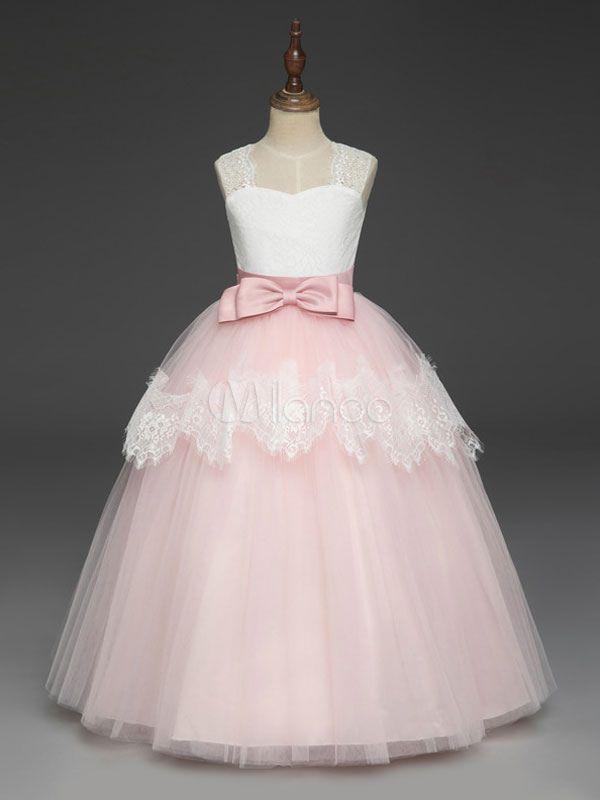Flower Girl Dresses Soft Pink Kids Formal Dress Lace Bows A Line Girls  Pageant Dress - Milanoo.com b19899c5f07c