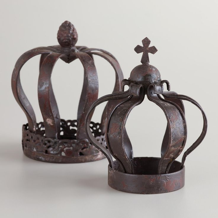 Small Metal Crown Decor, Set of 2 | World Market SO cute