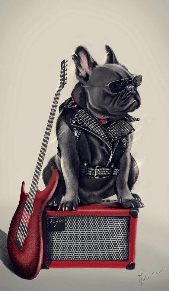 'Rock Star', French Bulldog painting, illustration.
