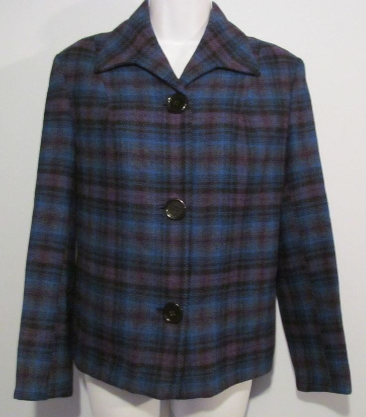 Vintage 1950's Pendleton Women's 49ers Jacket Coat Blue Plaid Size Medium M Mint #Pendleton #49ers