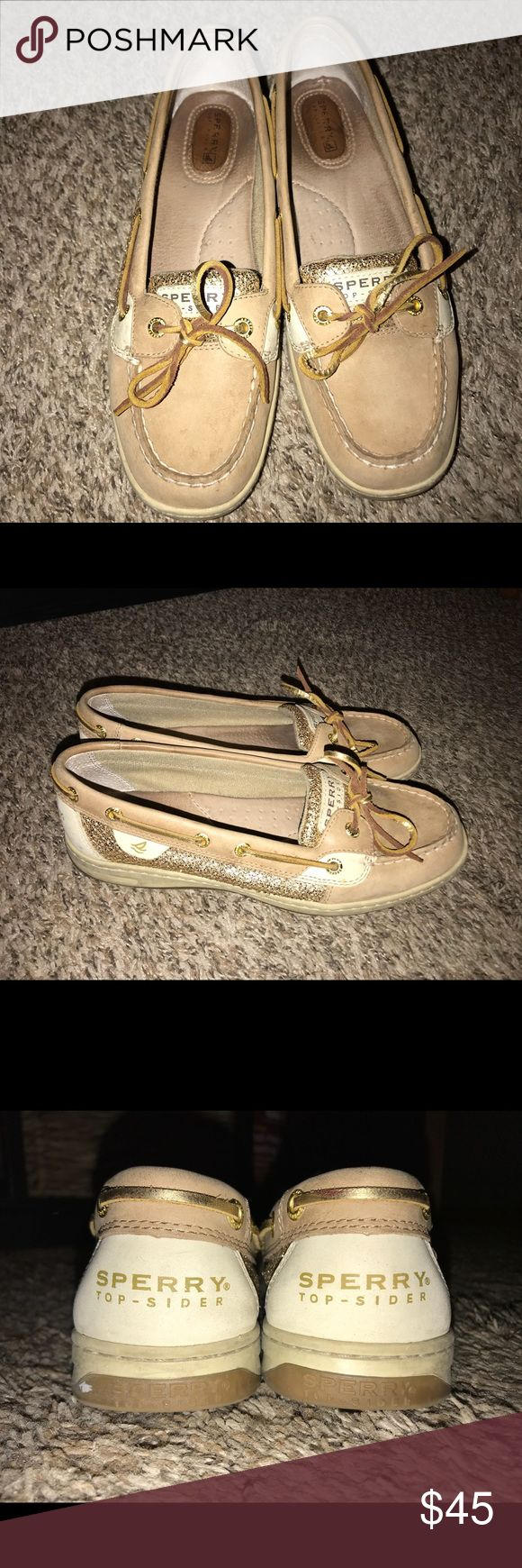 Sperry Boat Shoe Sperry Angelfish Linen/Gold Glit. Normal wear and it good condition, just need some cleaning. Sperry Top-Sider Shoes Flats & Loafers