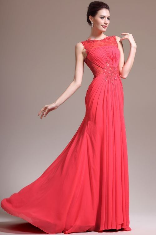Draped Tank Top Floor Length A Line Chiffon Red Evening Dress at www.promdressbycolor.com #Black Prom Dresses
