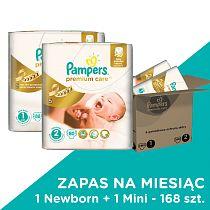 Pampers, Premium Care, pieluchy jednorazowe, rozmiary 1+2, 168 szt., zapas na miesiąc