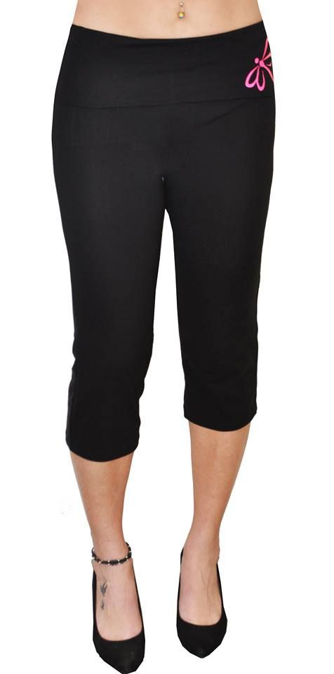 Yoga 3/4 Pants by EverWear.  Made from Cotton Lycra. Black Fold over band with Neon Pink Logo.  Fold over band available in 17 different colours.