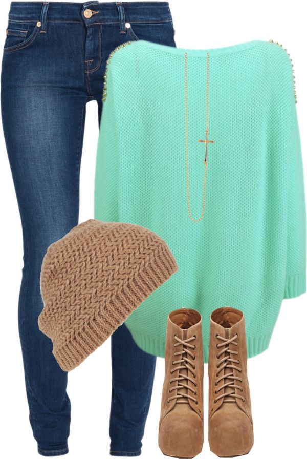 teal and tan