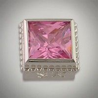 This Square Basic Bezel is a 8/8 MM Princess cut. It is a Square Pink CZ. #CaerleonJewelry