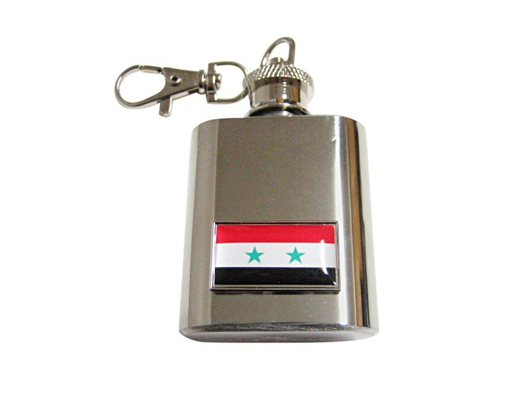Thin Bordered Syria Flag Pendant 1 Oz. Stainless Steel Key Chain Flask