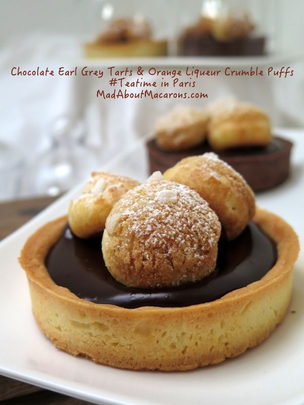 Chocolate Earl-Grey Tarts with Orange Liqueur Profiteroles. Recipe in Jill Colonna's new book, Teatime in Paris | Mad about Macarons! Le Teatime Blog in Paris