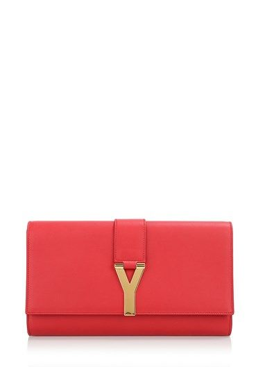Red leather #clutch by #SaintLaurent with front flap buckle decorated with 'Y' in gold metal. Lining suede, magnetic closure, inside pocket slit. http://bit.ly/1MWPd3s