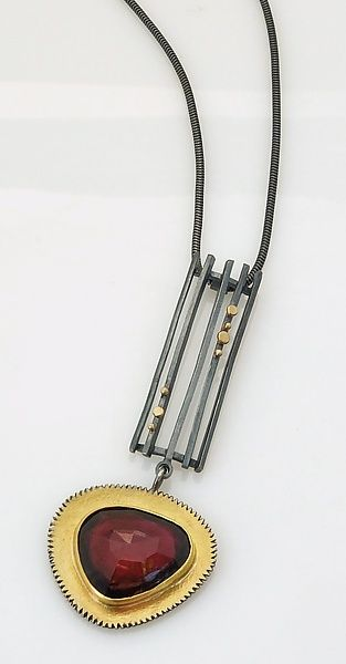 Stripe Pendant with Rose-Cut Garnet: Sydney Lynch: Gold, Silver, & Stone Necklace | Artful Home