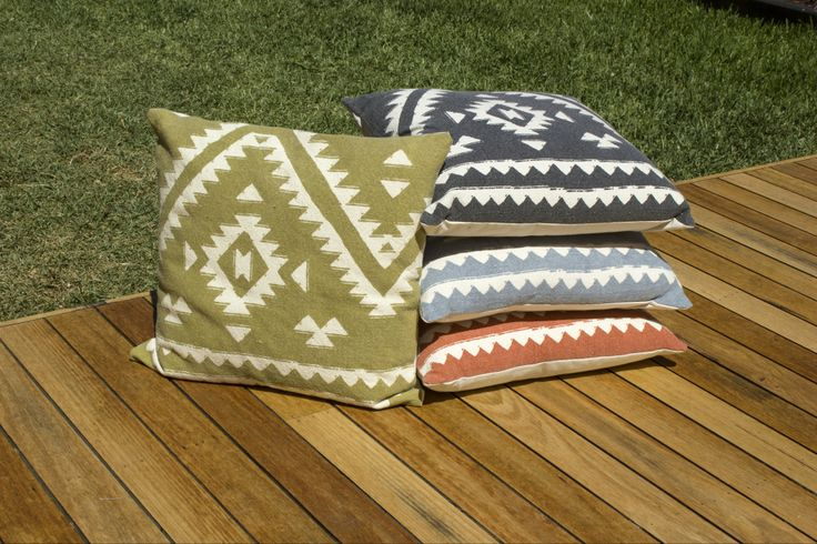 Aztec Cushions - Mustard, Charcoal, Blue and Copper