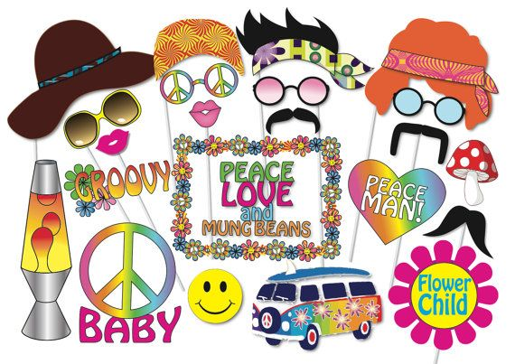 Hippie party photo booth props set 24 piece printable for 60s party decoration ideas