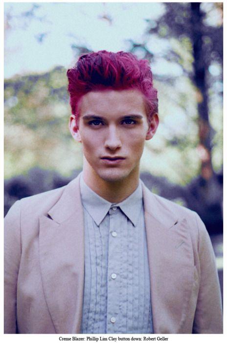 Teen boy pink black hair