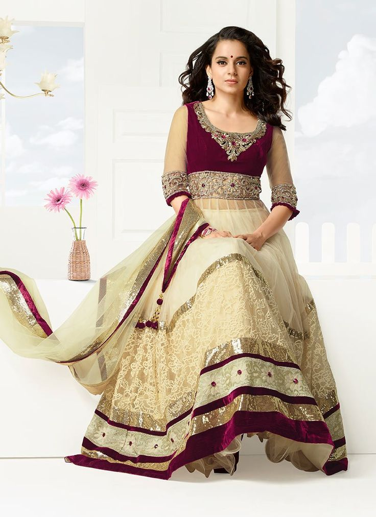 Amazing Kangana Ranaut Cream Net Anarkali Suit