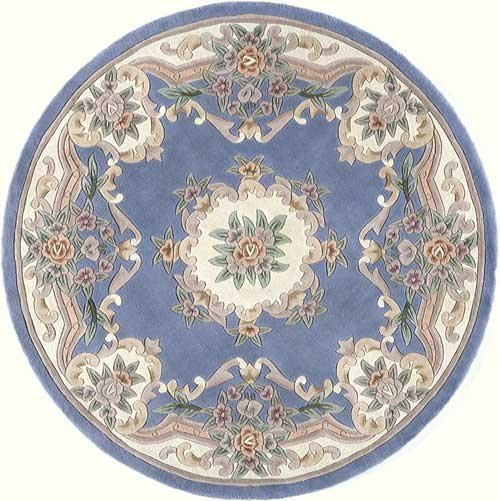 """Round french blue victorian shabby chic DOLLHOUSE miniature RUG 5"""""""