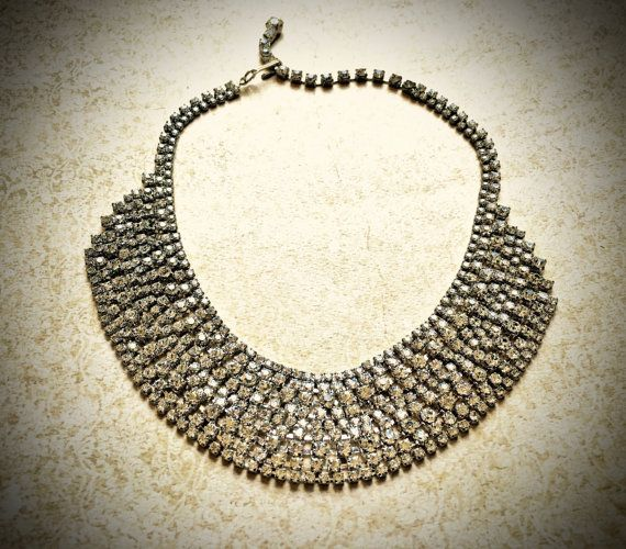 Amazing Rhinestone Necklace-Vintage Clear by JNPVintageJewelry