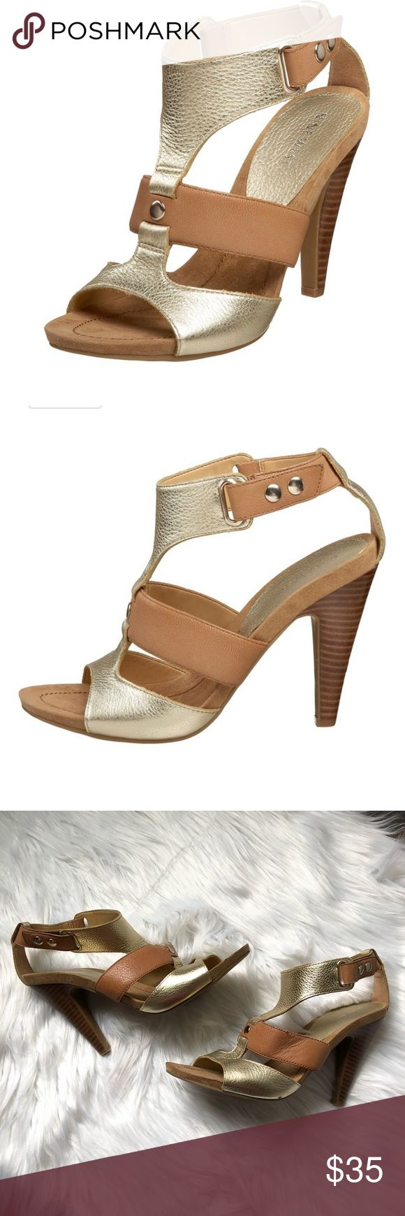 """Nine West Gold Tan Strappy Heeled Sandals Like new! Nine West """"Shoesnoop"""" gold and tan leather sandals with 4"""" heel. Rubber sole. No trades, offers welcome. Bundle and save! Nine West Shoes Heels"""