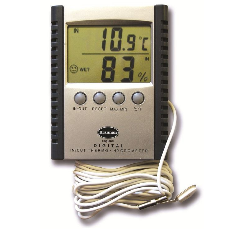 Digital indoor outdoor thermometer with hygrometer to monitor indoor and outdoor temperatures with silver front and black trim. Large display with simultaneous reading of temperature and humidity. The indoor outdoor thermometer display can be switched between indoor and outdoor and also from °C to °F.