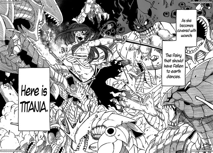 Fairy Tail 284 Page 20. Erza Scarlet (Titania) vs. 100 Monsters (3rd day Grand Magic Games: Pandemonium)